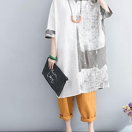 Loose linen Top - women Oversized Loose linen Top Women Clothing White shirt dress Plus Size dress