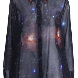 Romwe - Universe print long sleeves loose shirt