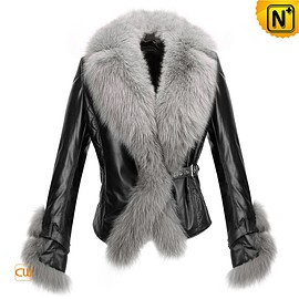 cwmalls - Budapest Womens Fur Trimmed Leather Jacket CW611205