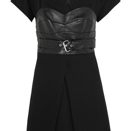 McQ, ALEXANDER MCQUEEN - Leather-paneled crepe mini dress