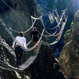Italy - The Tibetan Bridge in Claviere, Piedmont