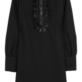 SAINT LAURENT - Leather-trimmed wool-crepe dress