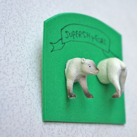 Animal Head Style Polar Bear Stud Earrings/ animal jewelry vintage toy kids white strange odd 3d