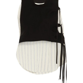 Altuzarra - Noemi crepe and striped cotton-gauze top