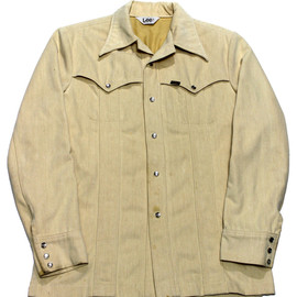 Lee - Vintage 1970s Lee M.R. Beige Pearl Snap Button Up Shirt Made in USA Mens Size Medium