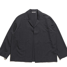 AURALEE - Wool Silk Tropical Shirts Jacket-Charcoal Black
