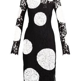 DOLCE&GABBANA - Polka-dot appliqué lace dress