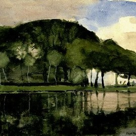 Piet Mondrian - Along the Amstel, 1903, Oil