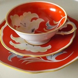 BAVARIA - Bavaria RED teacup 3set