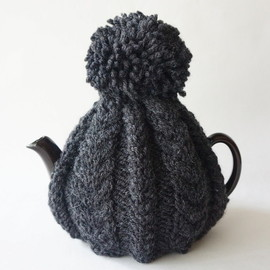british grandma's hand knitted tea cosy charcoal yarn / england new