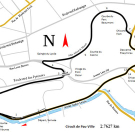 France - Carte circuit de Pau