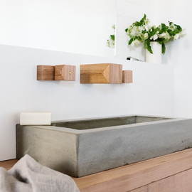 Wood Melbourne - brass + concrete bathroom fixtures