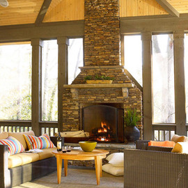 inviting rustic fireplace