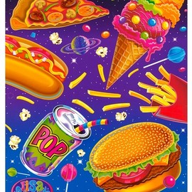 Flying junk food! Only in the Fantastic World of Lisa Frank! on We Heart It