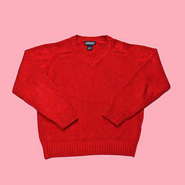VINTAGE - Vintage 90s Lands End Red Cotton Sweater Made in USA WOMENS Size Medium