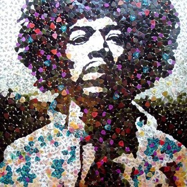 Unknown - Hendrix portrait made up completely of guitar picks. Incredible!