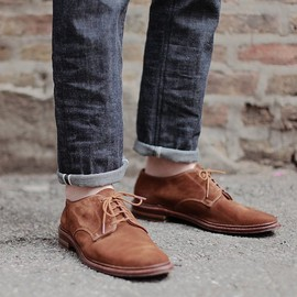 Alden - Suede Plain Toe Blucher