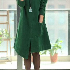 etsy - Asymmetric Spring Coat long sleeved dress