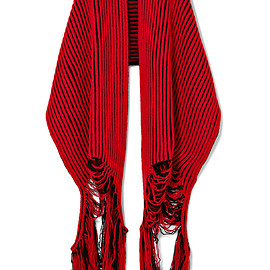 BALENCIAGA - Oversized distressed ribbed wool scarf