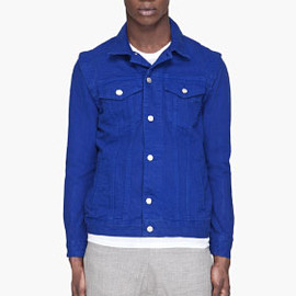 OPENING CEREMONY - Cobalt blue convertible Backpack denim Jacket