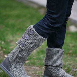 shoes - Image of [grzxy61900117]Roman Style Retro Pure Color Button Warm Wool Knit Boots