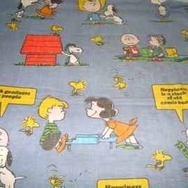 vintage Peanuts Gang/ Snoopy twin flat sheet