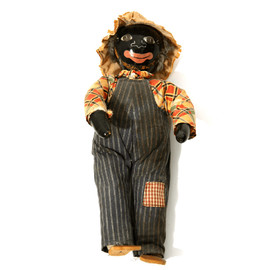 Folk Art Farmer Doll With Stripe Overall - 1910's~ Folk Art Farmer Doll With Stripe Overall