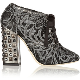 DOLCE&GABBANA - FW2014 100MM MACRAMÉ LUREX LACE UP ANKLE BOOTS