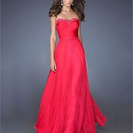 A-line Sweetheart Appliques Chiffon Prom Dress PD2662