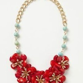 Anthropologie - Red Camellia bib Necklace