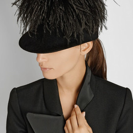 LANVIN - Feather-embellished rabbit-felt riding cap