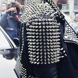 STUDDED LEATHER RIDERS JKT