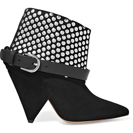 Isabel Marant - Otway leather-trimmed studded suede ankle boots