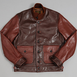 Hickoree's - 1920s Civilian A-1 Moto Jacket, Two-Tone Horsehide Leather