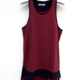 "VOTE MAKE NEW CLOTHES - VOTE MAKE NEW CLOTHES (ヴォートメイクニュークローズ)  // BYC SURF""LONG TANKTOP"" - MAROON  (タンクトップ)"