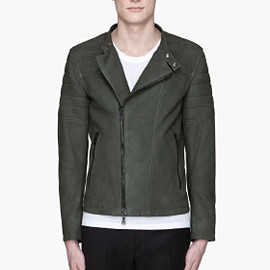 NEIL BARRETT - Forest green nubuck and knit Biker Jacket