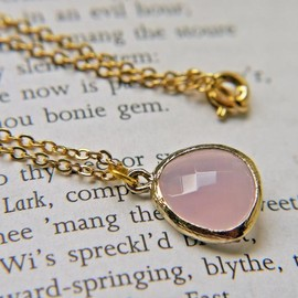 Luulla - Pink Opal Glass Pendant Necklace In Matte Gold. Modern Simplicity.