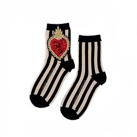 Laines London - Black & Cream Stripe Cotton Socks With Statement Crystal Heart