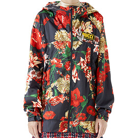 GUCCI - Zip-Front Hooded Spring Floral-Bouquet Print Nylon Jacket w/ Logo Patch