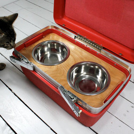 Atomic Attic - Upcycled Vintage Train Case Pet Feeder