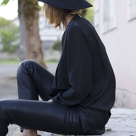 street - Black out with leather pants and hat