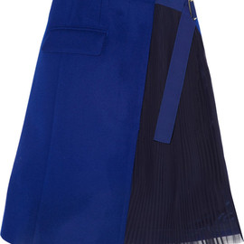sacai - Wool-felt and pleated chiffon wrap skirt