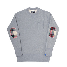 LOOPWHEELER - LW Basic Harris Tweed Patch Crew-neck