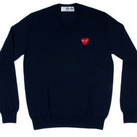 PLAY COMME des GARCONS - Red Play V Neck Sweater (Navy)