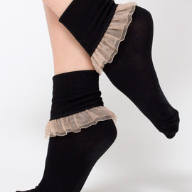 American Apparel - Girly Lace Ankle Sock (Black/Nude)