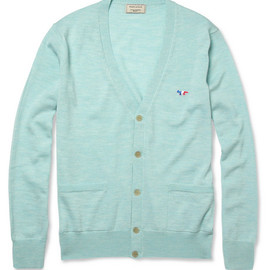 Kitsune - Merino Wool Light Blue Cardigan