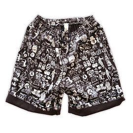 NADA. - Origainal silk print easy shorts / Dark choclate
