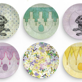 Easter eggs and Bunnies  - choose one 10 inch Melamine Plate for Easter