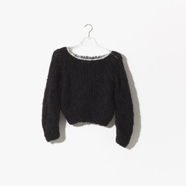 Maiami - Mohair Short Sweater w. coloured Border