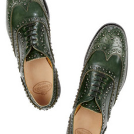 Church's - Burwood studded glossed-leather brogues